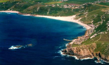 Aerial view of Sennen Cove